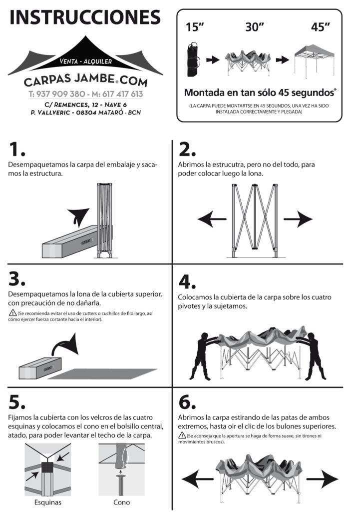 INSTRUCCIONES DE UNA CARPA PLEGABLE BiN